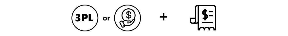 Third-party or collect icons add to invoice icon
