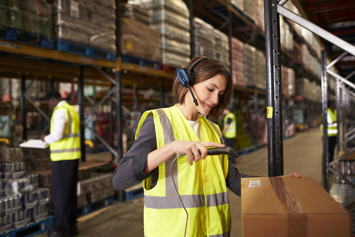 Barcode scanning in warehouse for shipping system