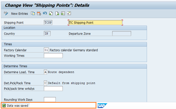 Data Saved in SAP SD Shipping Point Determination
