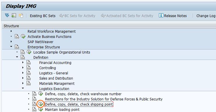 Define Shipping Point in SAP SD