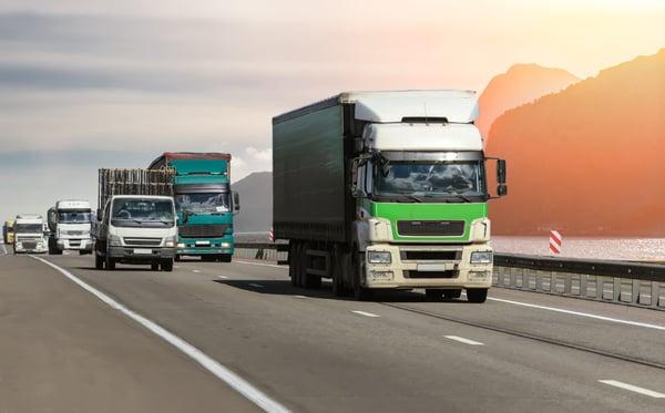 Freight trucks shipping hazardous materials