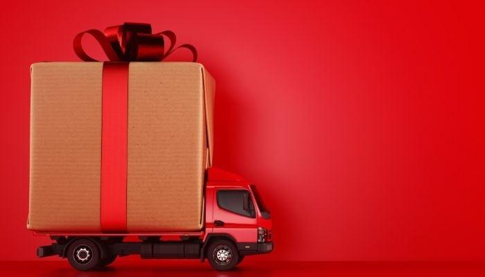 Peak Shipping Season gift box delivery truck