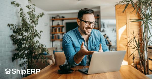 SAP intelligent enterprise: Man happy working on a laptop