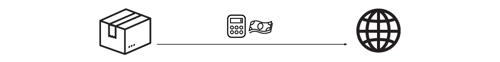 Shipping internationally icons with duties + taxes icons