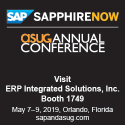 Visit ERP Integrated Solutions booth at SAPPHIRE NOW and ASUG Conference